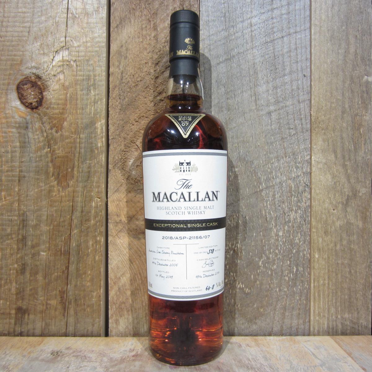 Macallan Exceptional Single Cask 21156 Cask 7 129.6pf 750ml